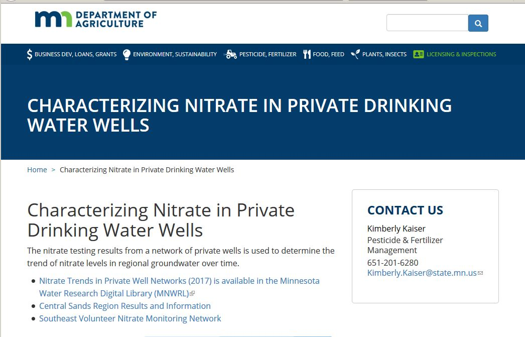 Characterizing Nitrates in Private Drinking Water Wells